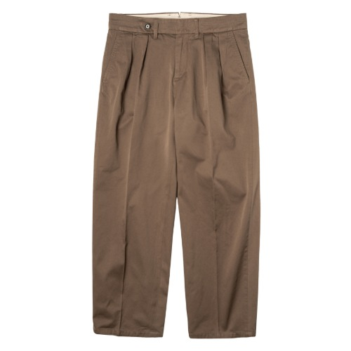 [rough side] Two-tuck Chino Pants (Brown)