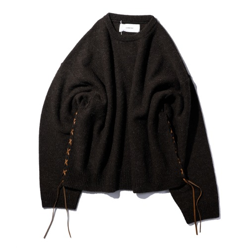 [wonderland] Crewneck Knit (Dark Brown)