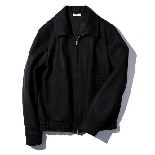 [AUBETT] Wool Jersey Melton Zip Up Jacket (Dark Navy)