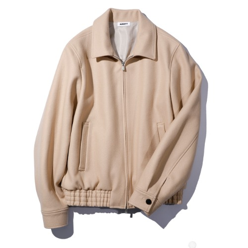 [AUBETT] Wool Jersey Melton Zip Up Jacket (Beige)