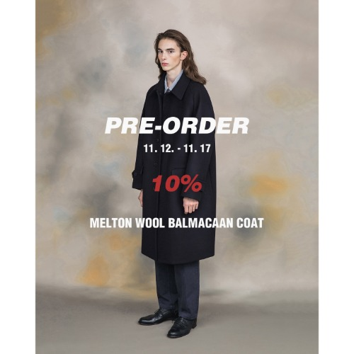 [SHIRTER] Melton Wool Balmacaan Coat (Dark Navy)