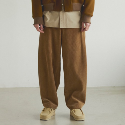 [Art if acts] Corduroy Side Tucked Pants (Khaki Brown)