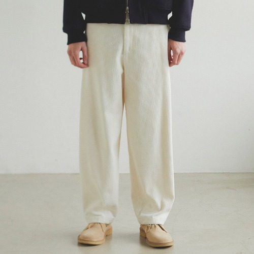 [Art if acts] Corduroy Side Tucked Pants (Cream)