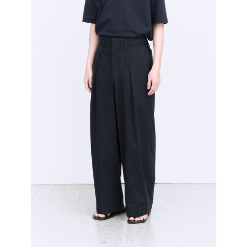 [polyteru] Belted Wide Pants (Dark Navy)