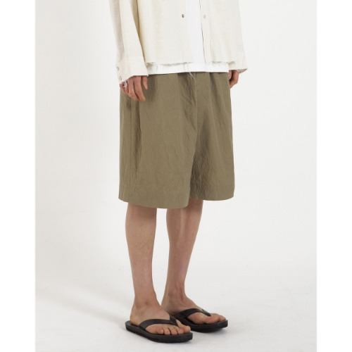 [YOUTH] Wide String Half Pants (Khaki Crease)