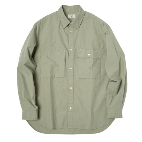 [rough side] Officer Shirt (Pale Moss)