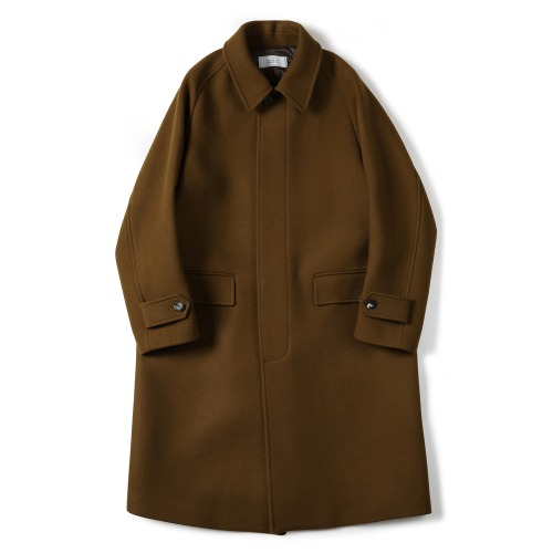 [SHIRTER] Melton Wool Balmacaan Coat (Sand Brown)
