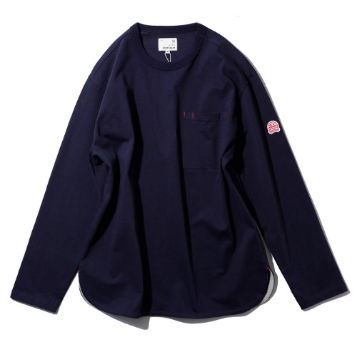[HORLISUN] Emery Long Sleeve Pocket T-Shirts (Navy) Exclusive for HAVATI