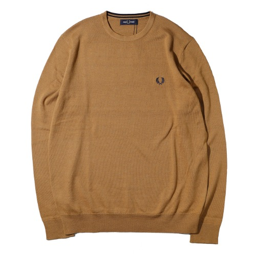 [FRED PERRY] Classic Crew Neck Knit (Caramel)
