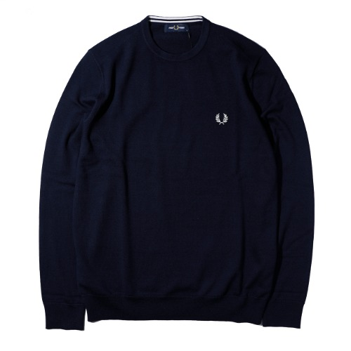 [FRED PERRY] Classic Crew Neck Knit (Navy)