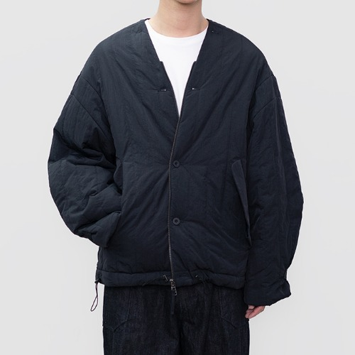 [polyteru] Quilted Cardigan (Dark Navy)