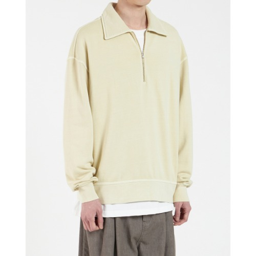 [YOUTH] Dyed Collar Sweatshirt (Pale Yellow)