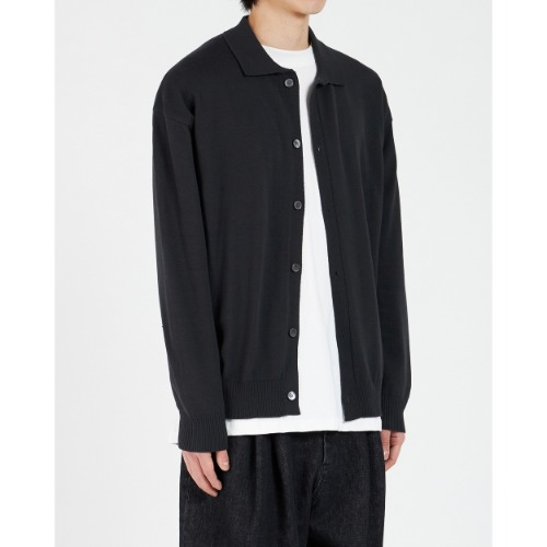 [YOUTH] Oversized Collar Cardigan (Black)