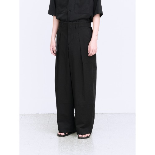 [polyteru] Belted Wide Pants (Black)
