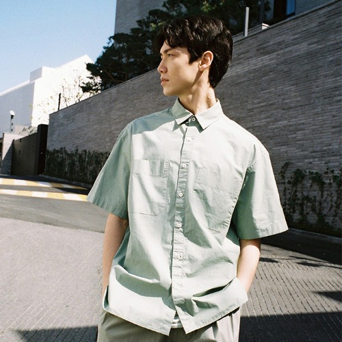 [HORLISUN] Poole Extra Typewriter Short Sleeve Shirts (Green)