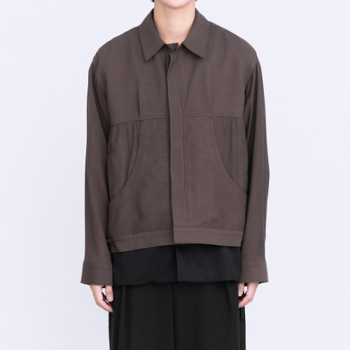 [polyteru] Pleated Trucker Jacket (Purple Brown)