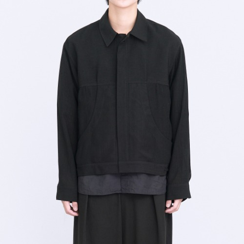 [polyteru] Pleated Trucker Jacket (Black)