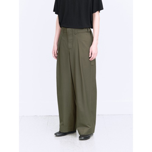 [polyteru] Belted Wide Pants (Gray Oilve)