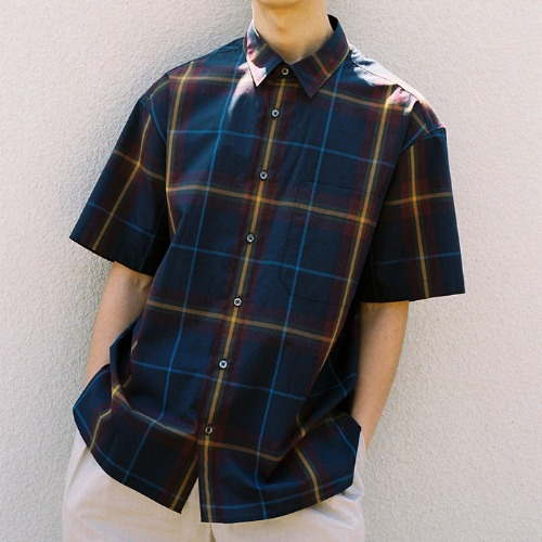 [HORLISUN] Ophir Multi Stripe Short Sleeve Shirts (Navy)